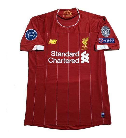 Camiseta Liverpool Titular 2019 Bob Paisley Parches Ucl