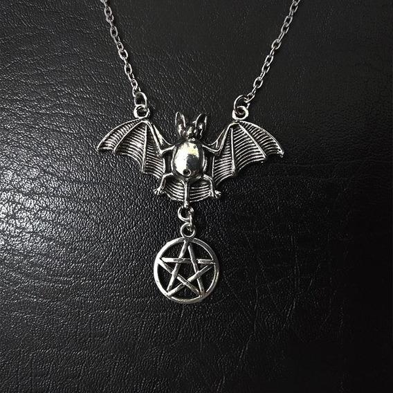Collar Murciélago Y Pentagrama Sencillo Gótico Rocker Biker