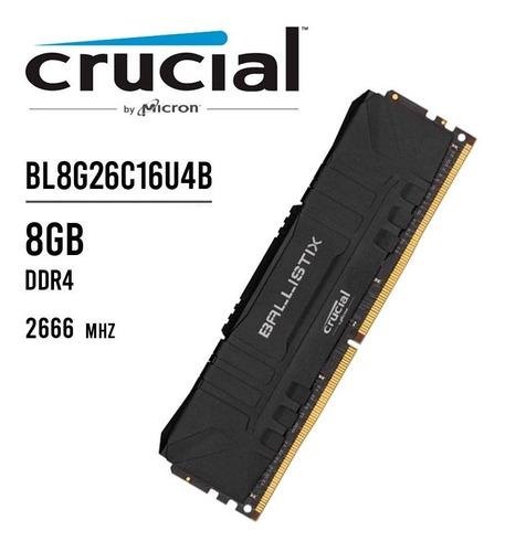 Memória Ddr4 Crucial Ballistix 8gb 2666mhz Black Usada