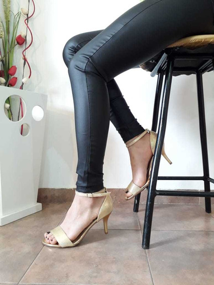 Sandalias Mujer Doradas Taco Bajo