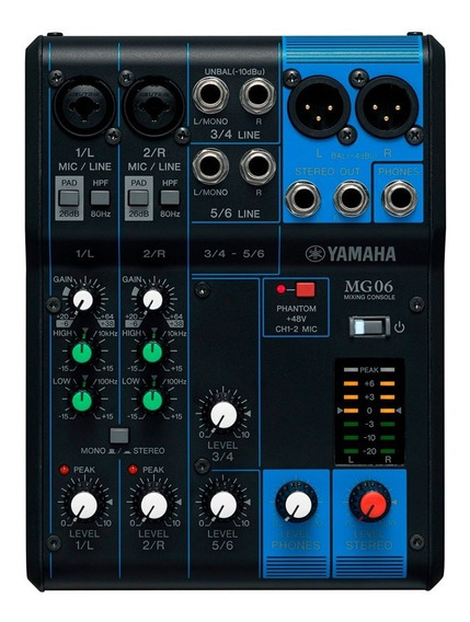 Mesa De Som Yamaha Mg06 Phantom Power 6 Canais Mixer