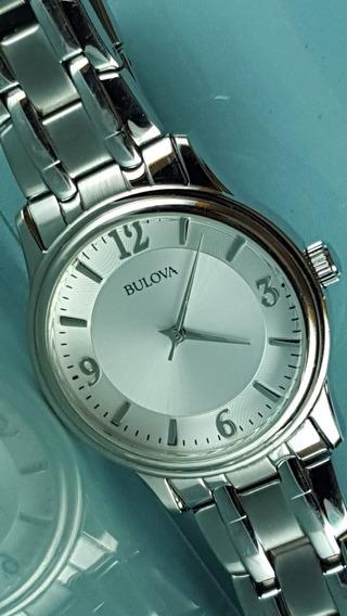 Relógio Bulova 96a000 Tom Prata Com Marcadores Grandes