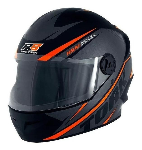 Capacete para moto integral Pro Tork R8 preto/laranja L