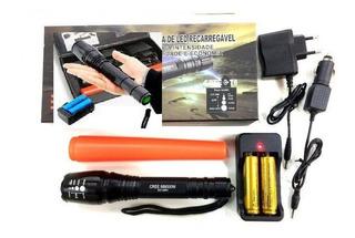 Lanterna Tática Led T6 Ec-2891 Com 2 Baterias Recarregaveis