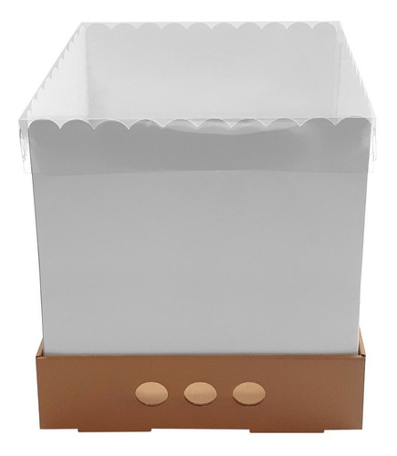 Caja Para Tortas Altas 30x30x32 Tapa Transparente X10