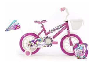 Bicicleta Rodado 12 Smile Stark Nena Infantil Ruedas Mochila