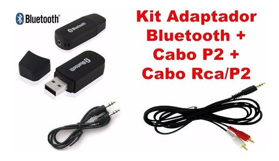 Audio Receptor Som Música Bluetooth + Cabo P2 + Cabo Rca/p2