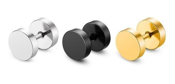 Piercing Expansor Falso Metálico Negro 2 Pzs Sin Envio