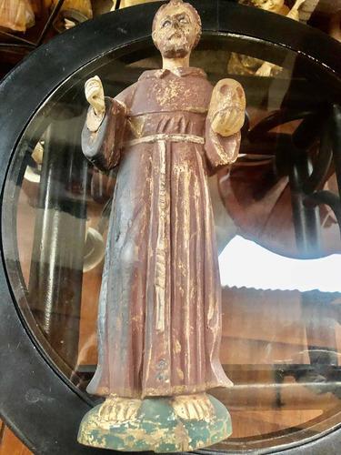 Escultura Monje De Madera Antiguo