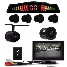 Kit Sensor Estaci 4 Pontos Preto + 2 Câmeras Ré E Monitor