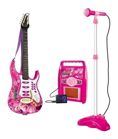 Kit Guitarra Infantil Com Amplificador E Microfone Pedestal