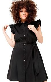 Vestido Negro Camisero Volado By Forever Plus Size 3x