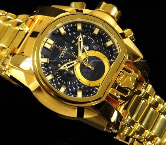 Relógio Masculino Luxo Aço Inox Dourado Fundo Azul