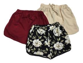 Shorts Bermuda Feminina Kit3 Malha Estampadas E Lisa