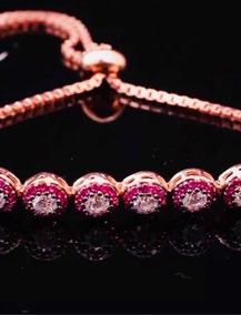 Bracelete, Pulseira Prata Esterlina 925 Ajustável Com Rubis