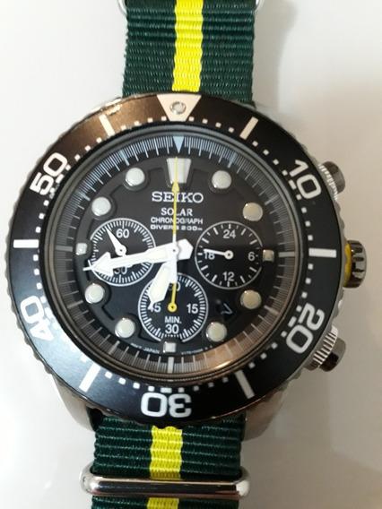 Relógio Seiko Solar Diver Ssc021 Cronografo - 20 Atm