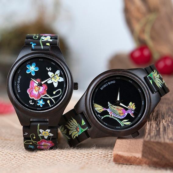 Relógio Feminino Madeira Bobo Bird P06 Anal. - Flor/pássaro
