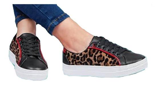 Calzado Tenis Sneakers Dama Mujer Moda Negro Animal Print