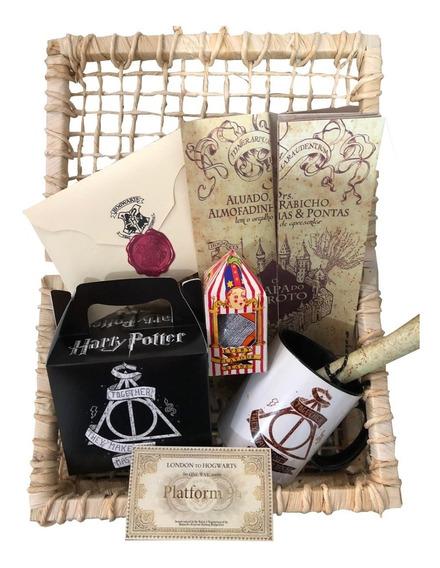 Cesta Harry Potter D - 8 Itens Com Carta + Cesta + Feijões
