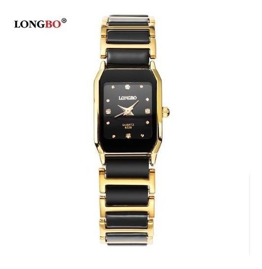 Relógio Feminino Longbo Preto Dourado Black Gold Modelo Mini