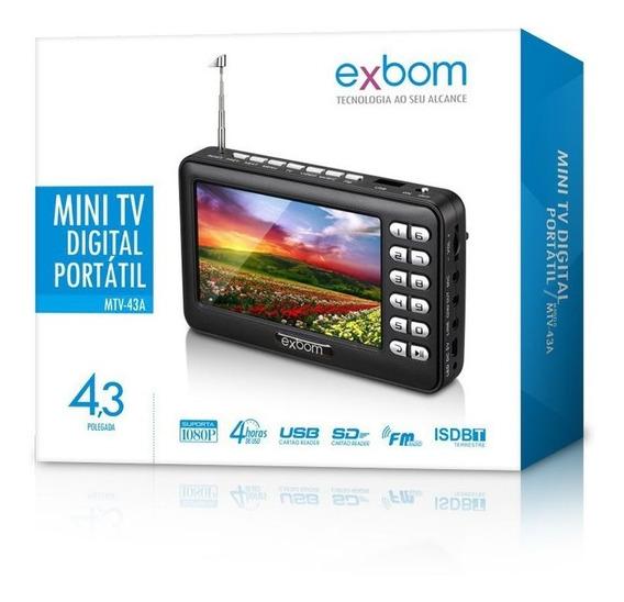Mini Tv Digital Portátil C/ Tela Lcd Antena Bateria Interna