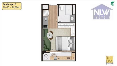 Imagem 1 de 16 de Studio Com 1 Dormitório À Venda, 24 M² Por R$ 264.316,34 - Pinheiros - São Paulo/sp - St0209