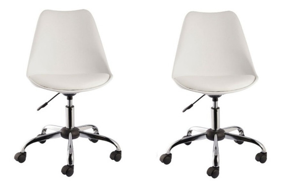 Kit 2 Cadeiras Eames Office Base Metal Sem Braço 12x