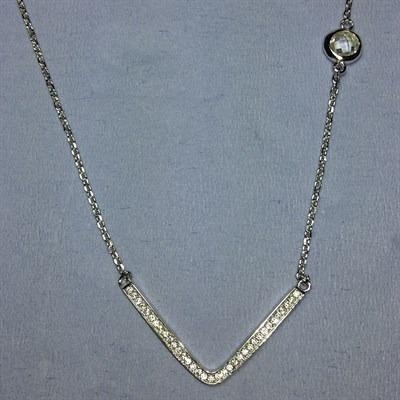 Colar Prata 925 Pingente Com Zircônia E Ponto De Luz