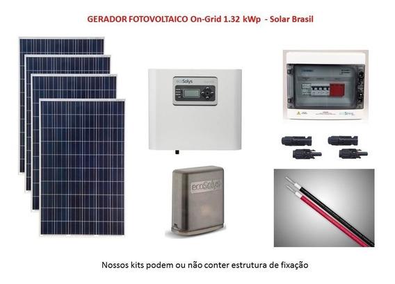 Gerador Placa Solar Conectado À Rede 1.32kwp (on Grid Tie)