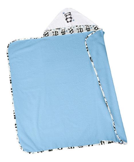 Toalha De Banho Infantil Com Capuz Lepper Felpuda Azul