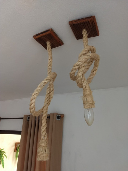 Lustre Pendente Arandela Rustico De Corda Em Madeira