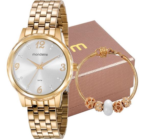 Kit Relógio Mondaine Feminino Com Pulseira 99358lpmkde1k2