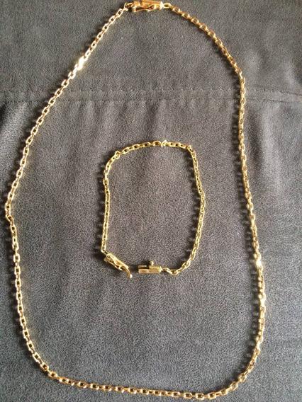 Conjunto Pulseira + Cordão Banhado Em Ouro 18k 5mm