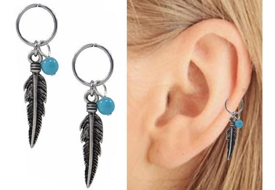 Piercing Cartilago Ear Cuff Pluma Silver 2 Pzs Con Envio