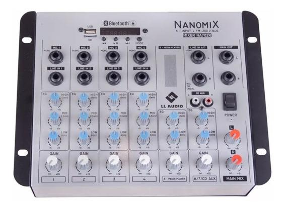 Mesa De Som Ll Nanomix Na702r Bt 6 Canais - Com Gravação
