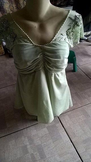 Blusa Verde Festa Bordado