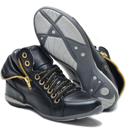 Bota Sneakers 100% Couro Feminino Tênis Cano Alto Casual 214