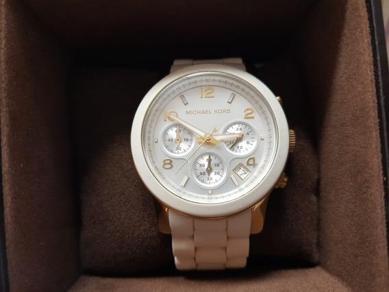 Relógio Michael Kors Pulseira Silicone Branco Semi Usado