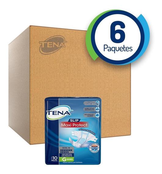 Caja De 6 Tena Slip Maxi Protect Grande 10 Piezas