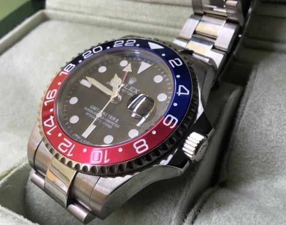 Relógio Automático Vermelho/azul Gmt Master Safira Cerâmica