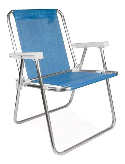 Cadeira De Praia Alta Alumínio Sannet Azul Mor