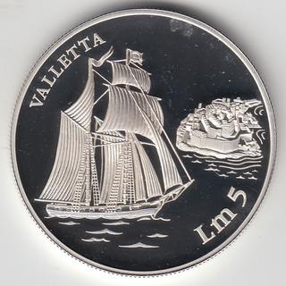 Malta Moneda De 5 Liri 1994 Proof Plata Km#108