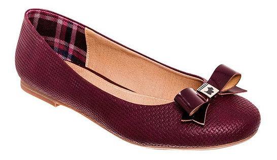 Zapato Flats Dama Pk 80131 Ferrioni Vino