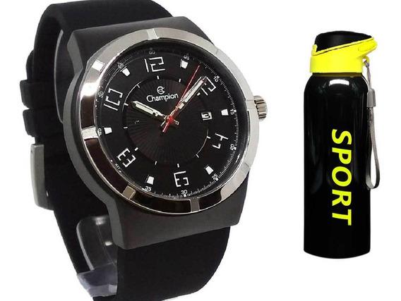 Relógio Champion Masculino Analógico Ca31597p + Squeeze Inox