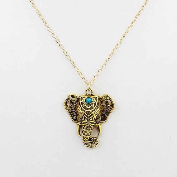 Collar Elefante Dorado Lapislazuli Exclusivo N-299 F