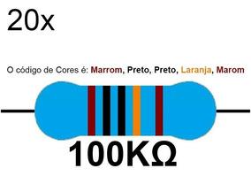 20 Resistor 100k 1/4 W 1% Azul Led 5v 12v Arduino Raspberry