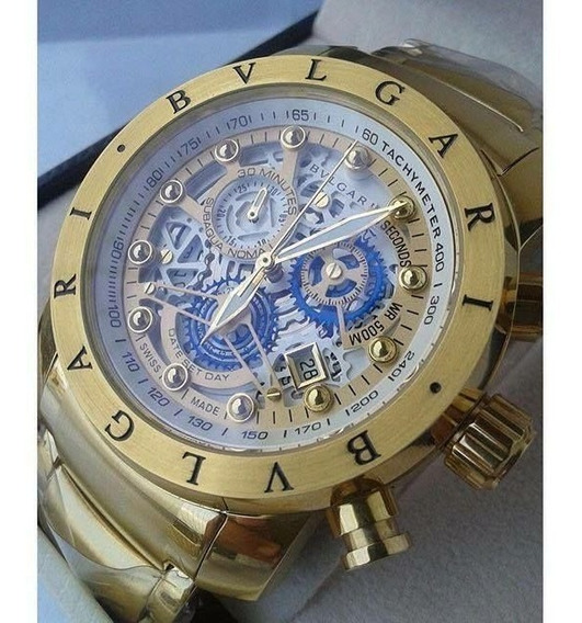 Relógio Bv Skeleton Ouro Amarelo Original
