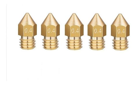 5 Peças Nozzle - Bico Extrusor 0.4mm P/ Impressora 3d 1,75mm