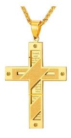 Colar Masculino Cruz Aço Inox Banhado Ouro 18k Crucifixos