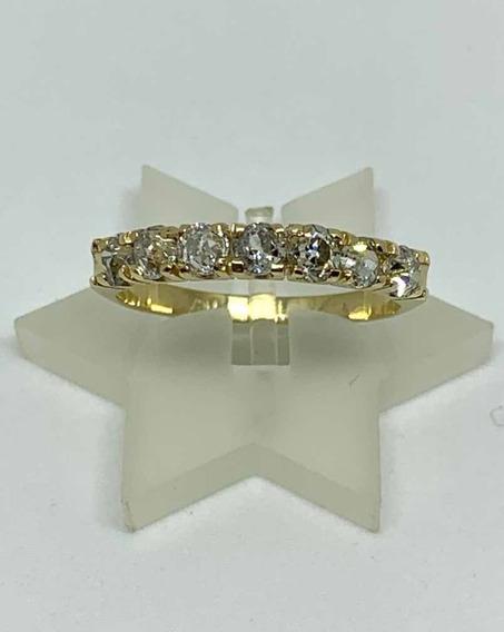 Glitter Joias - Anel Meia Aliança Ouro E 70 Pontos Diamantes
